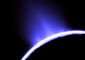 An ice geyser on Enceladus